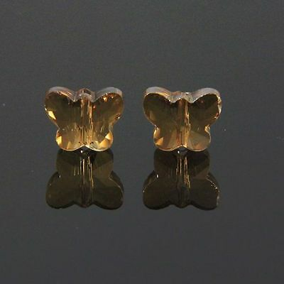 6pcs Swaro 5x6x10mm Butterfly Sparkling Crystal bead D Golden-champagne