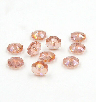 12Pcs Swaro 10mm Middle hole Plum Blossom Crystal bead D Pink