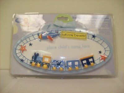 Our Little Explorer Train and Airplane Keepsake Name Plaque