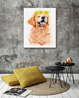 Modern Art Poster-Wearing A Wreath Dogs Print Wall Room Decor Canvas Painting