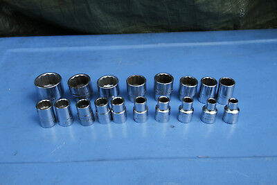 Vintage Sidchrome Metric Sockets X 18. Made in Australia.  Good old tools