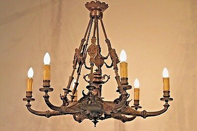 Large impressive solid bronze French antique gothic chandelier 1800's big Empire