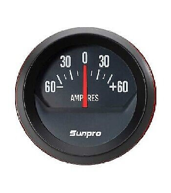 Sunpro 2 Inch Ammeter Black / Black Bezel New CP8214 Authorized Distributor