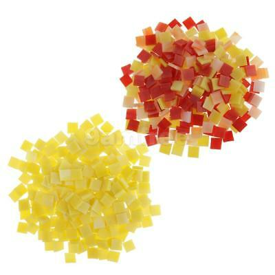 500pcs Square Glass Mosaic Tiles Pieces for DIY Art Craft 10x10mm Red Yellow