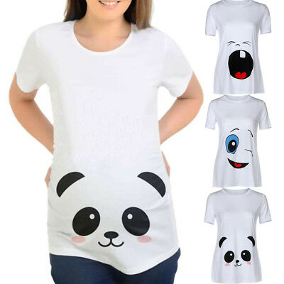 Womens Cartoon Print Pregnants Casual Nursing Blouse Baby For Maternity T-Shirt