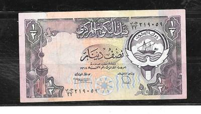 KUWAIT #12d 1980 1/2 DINAR VF CIRC OLD BANKNOTE PAPER MONEY CURRENCY BILL NOTE