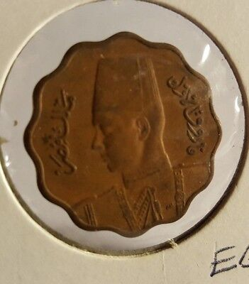 rare 1930's Egypt coin with the king in a fez and military uniform uncirculated