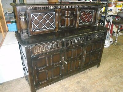 Ercol Vintage Colonial Dark Solid Wood Dresser Wall Unit - collect MK45