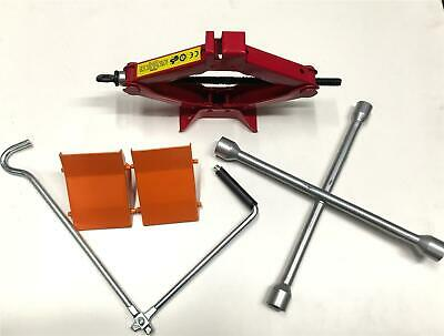 1 Tonne Car Scissor Jack Adr Approved and 2 Wheel Chocks and Wheel Brace Removal