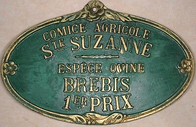 French farm show metal plaque plate 1st prize for ewe sheep Sainte Suzanne 1980s