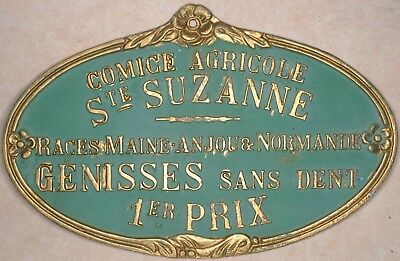 French farm show metal plaque plate 1st prize toothless cow Sainte Suzanne 1980s