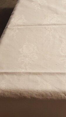 Tablecloth Vintage Damask Basketweave Drawn Work Off White  Square Art Deco