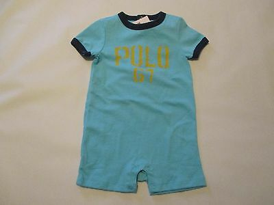 NWT boy's size 9mo. RALPH LAUREN blue LOGO soft cotton ringer one piece