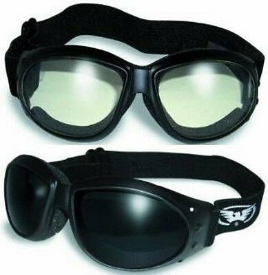 2 GOGGLES Motorcycle Riding SUPER DARK AND Clear Glasses Sunglasses Googles Quad