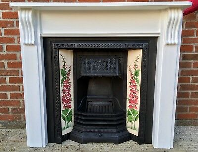 Cast Iron Victorian Style Fireplace With Floral Tiles & Painted Wooden Surround