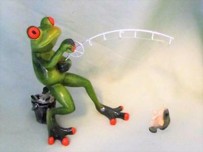TREE FROG FISHING POLE FISHERMAN BUCKET RESIN Whimsical Sculpture FREE SHIP