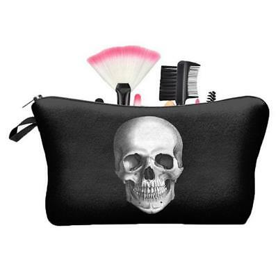 Beauty Travel Makeup Cosmetic Bag 3D Skull Portable Travel Pouch Unisex NEW S