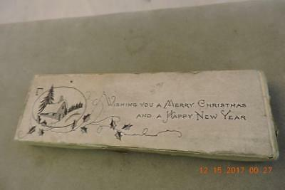 Antique engraving print block Snowy Cabin Wishing Merry Christmas Happy New Year