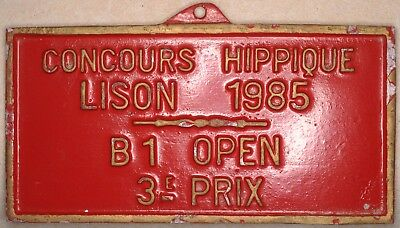 French horse show red jumping prize award metal plaque plate Lison Normandy 1985