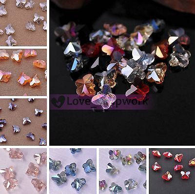 Wholesale DIY 10X8mm Butterfly Faceted Crystal Glass Loose Spacer Beads Lot Bulk