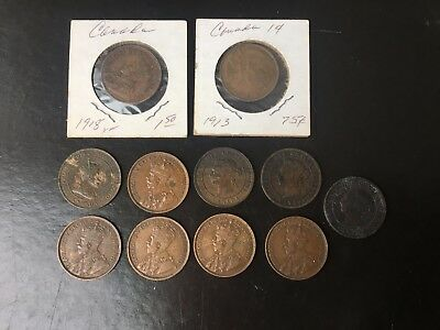 Lot of 11 Canada Large Cents- 1884-1918
