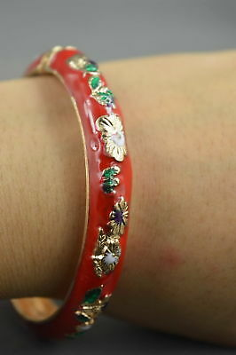 Collectable Handwork Decor Royal Cloisonne Carve Beauty Flower Fashion Bracelet