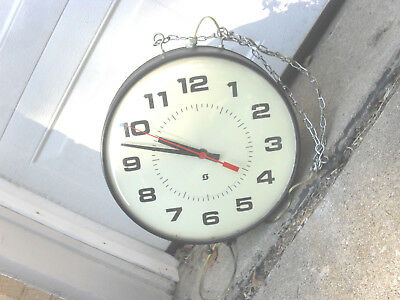 Vintage Doubled Sided School Hospital  Clock Great Condition