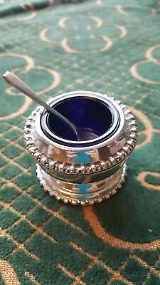 Jampot With Blue Glass Insert Epns Spoon