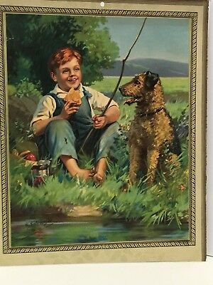 Vintage Picture Of An Airedale And His Boy Fishing
