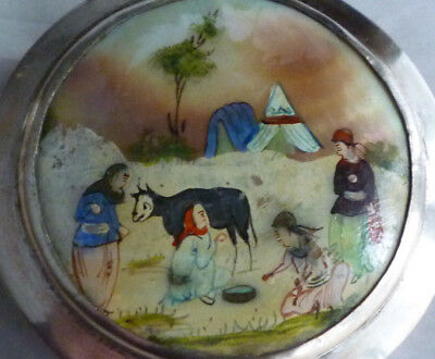 Vintage Hand Painted MOP Silver Compact Jewelry Trinket Box Persian Women