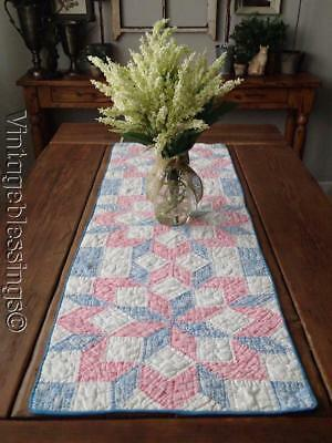Gorgeous Vintage 30s Pink & Blue Feedsack Starburst Table QUILT Table RUNNER 48""