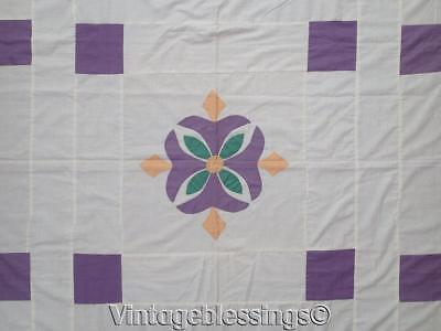 Beautiful Antique c1920s Art Deco Appliqued QUILT TOP Purple Yellow 86x84""