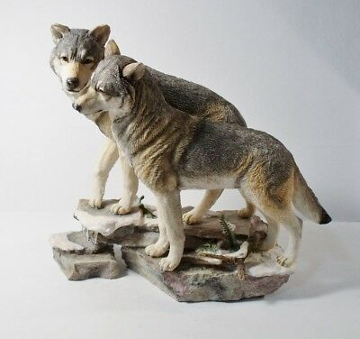 """Large Resin WOLF FIGURINE by Country Artists """"ETERNAL LOVE"""" K. Sherwin"""