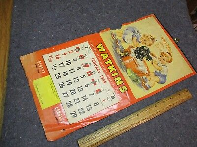 "Vintage Calendar/watkins/1949-Full Year/""dog Shows Today-Kids Washing Puppy/cute"