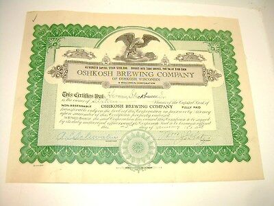 "A ""Stock"" Actual Certificate from 1928 for the Oshkosh Brewing Co."