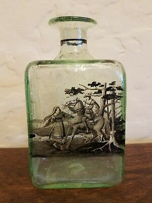 Early Antique Blown Glass Bottle With Humorous Painted Scene