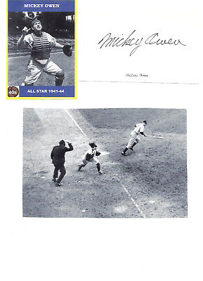 Mickey Owen - Vintage Hand Signed Autograph/picture 41 World Series Goat.