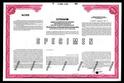 Hong Kong and Shanghai Banking Corp. ca.1960-70's Specimen Stock Certificate.