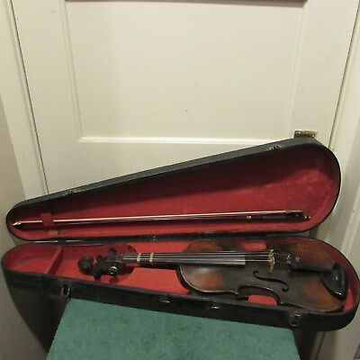 Vintage marked Antonius Stradivarius 1742 violin with case and bow