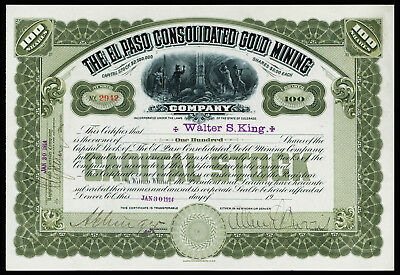 CO. El Paso Consolidated Gold Mining 1914 I/U 100 Shrs Stock Certificate. VF