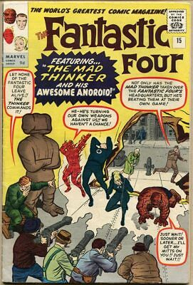 Fantastic Four #15 - VG/FN - 1st Appearance Of The Mad Thinker