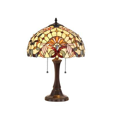 "Victorian Style Hand Crafted Stained Glass 22.8"" H Table Lamp with Bowl Shade"