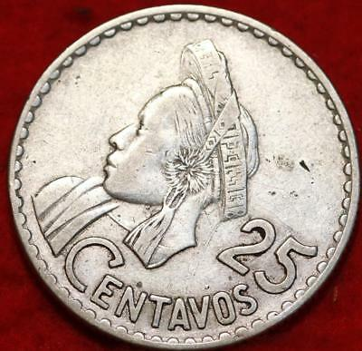 1960 Guatemala 25 Centavos Silver Foreign Coin Free S/H