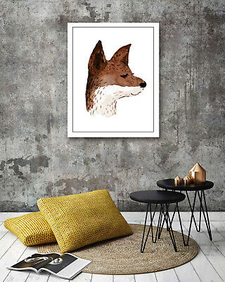 Watercolor Cute Fox Modern Art Poster Prints Wall Room Decor Canvas Painting