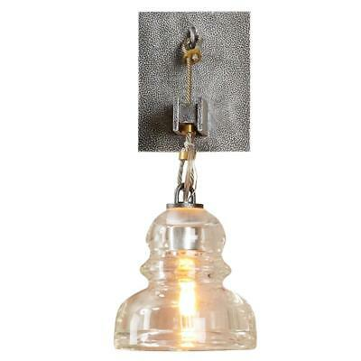 1 Light Wall Sconce Hand-Worked Wrought Iron Clear Glass Shade Old Silver