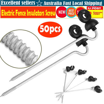 50X Electric Fence Timber Wood Post Insulators Screw In Offset Poly Wire Cord DH