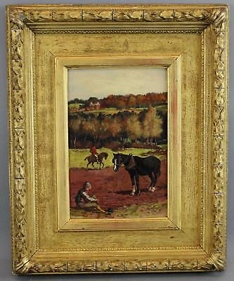 1874 Antique EDWARD PENSTONE English Fox Hunter & Work Horse Oil Painting