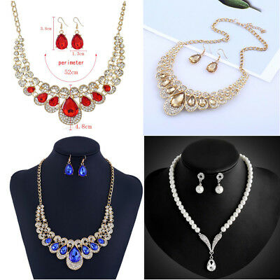 Wedding Jewelry Set Pearl Crystal Earring Peacock Statement Necklace Gift # BEST