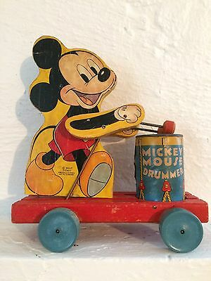 Vintage 1940s Mickey Mouse Drummer Pull Toy It Works!