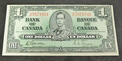 1937 Bank Of Canada $1 Dollar Note, Circulated Condition, Lot#8